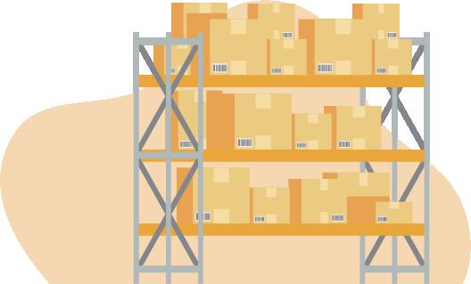 Ícone de prateleira com muitas caixas